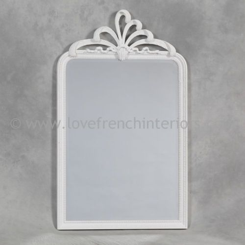 Antique White Wall Mirror with Plume Crest